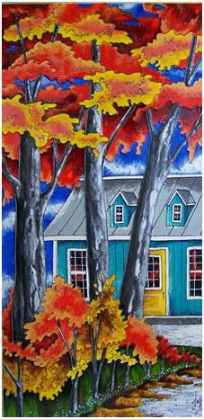 Leaves In The Fall pieces) Autumn Painting, Faux Painting, Autumn Art, Painting & Drawing, Peacock Art, Art Of Glass, Easy Watercolor, Art Abstrait, Easy Paintings