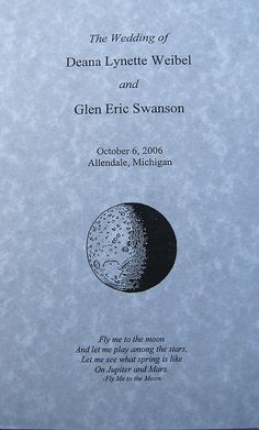 Space themed wedding program by Liftoff Lady, via Flickr