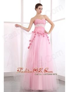 Pink Sweetheart Taffeta and Tulle Prom Dress with Appliques- $157.89  http://www.fashionos.com  http://www.facebook.com/prom.fashionos.us  This beautiful sheath-style pink wedding dress is made from taffeta and features a lovely lace sash below the pleated bust, a sweetheart neckline and a pretty and romantic handmade rose around the midsection accents the waistline.