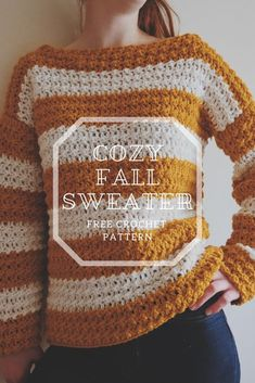 Crochet Fall Sweater - Crochet with Carrie T-shirt Au Crochet, Pull Crochet, Crochet Fall, Crochet Cardigan Pattern, Crochet Shirt, Chunky Crochet, Crochet Hooks, Crochet Patterns, Crochet Sweaters