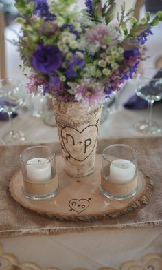 As featured in Dream Weddings- Rustic Wood Slice Centerpiece Stands Set of 10  Extra Large. $150.00, via Etsy.