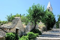 stairs to church in Primosten, Croatia