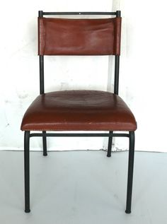 Jacques Adnet Chairs | From a unique collection of antique and modern side chairs at https://www.1stdibs.com/furniture/seating/side-chairs/