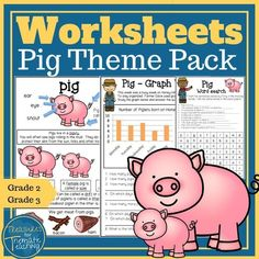 Pig Themed Worksheet pack.  Great for Barnyard, farmyard or your On the Farm theme. There are a range of worksheets available.  Pack begins with a poster.   Worksheets include an English comprehension, word search, parts of speech work, spelling list, writing activity and graph work for math.  Designed with 2nd and 3rd Grade in mind.  #barnyard #farmyard #onthefarmtheme #treasuresforthematicteaching #teacherspayteachers