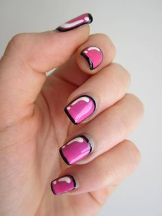Comic book nails- You do the black and then paint on the pink (I needed 3 coats of pink to cover the black), then use a small brush to neaten it up using black, and to paint the line across the tip.