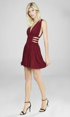 red grecian pleated cut-out mini dress from EXPRESS