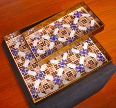 Set of serving trays, with moroccan style glass mosaic design by Laura Leon Mosaics, via Flickr