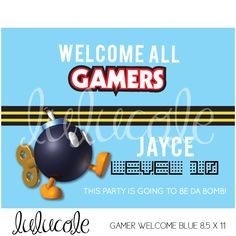 GAME TRUCK Gamer Birthday Party Personalized  Welcome Sign - Blue, Red, Yellow - Super Mario - Printable by lulucole on Etsy