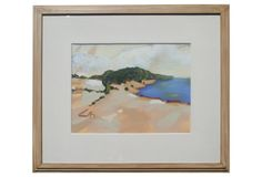 ON SALE NOW! original vintage art. Large Gouache Landscape by Marcoux, offered by Anna Hackathorn on One Kings Lane