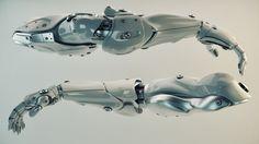 Silver brawny cyber arms by Ociacia.deviantart.com on @deviantART // Pectoral model for Dakest's arm....