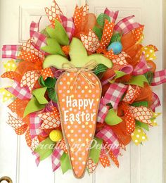 Happy Easter Carrot Door Wreath by WreathsbyDesign1 on Etsy