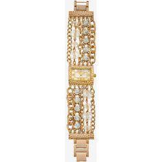 Rectangular Case Crystal Chain Strap Bracelet Watch - Ladies - Yellow - Yellow - Global Time