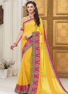 Yellow Embroidery Work Georgette Banarasi Silk Designer Party Wear Sarees http://www.angelnx.com/Sarees/Party-Wear-Sarees