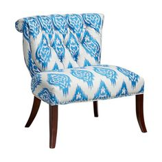 Vendela Blue and White Ikat Upholstered Accent Chair, $499 at Lamps Plus