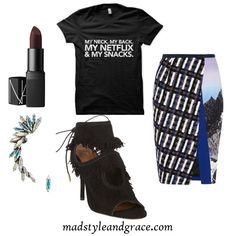 """For my ladies who like to """"turn up"""" on the couch with a good movie. This tee is inspired by Khia's song, """"My Neck, My Back"""". For style inspiration, I paired the shirt with a stunning Peter Pilotto tweed-paneled printed strech-crepe skirt, Aquazzura's sexy fringe booties, a silver-plated Swarovski crystal ear cuff by Ryan Storer, and NARS lipstick in Fast Ride."""