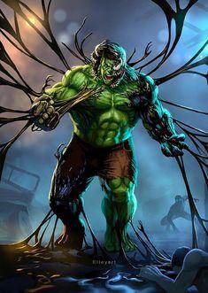 Venom absorbs Hulk by elleyart Venom Comics, Marvel Comics Art, Marvel Memes, Marvel Avengers, Marvel Comic Universe, Comics Universe, Marvel Fanart, Hulk Art, Hulk Hulk