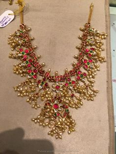 Gold Ruby Guttapusalu Necklace from PSJ ~ South India Jewels Gold Wedding Jewelry, Gold Jewelry Simple, Bridal Jewelry, Beaded Jewelry, Bead Jewellery, Diamond Jewelry, Long Pearl Necklaces, Choker Necklaces, Gold Choker