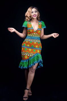 Orange and Green Highlow Ankara Midi Dress Ankara … Short African Dresses, African Dashiki Dress, African Fashion Ankara, Latest African Fashion Dresses, African Print Dresses, Ankara Dress, African Print Fashion, Latest Fashion, Traditional African Clothing