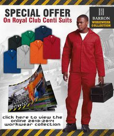 Description: Min Order of 5 Units  Jacket features include concealed metal zip, two side pockets and chest pocket. Pants with ½ elasticated waistband, triple-stitched on inner leg and back rise, two side pockets and one back pocket. Available in seven colours. 190g 80/20 Poly cotton fabric. Reinforced bar-tacked seams and all stress points and Monza chest pocket.  Royal - From R89.99  Orange, Navy, Black, Emerald, Red, GreyFrom R94.99 One Back, Work Wear, Emerald, Cotton Fabric, Stress, Suit Jacket, The Unit, Colours, Pockets