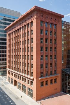 Louis Sullivan, The Wainwright Building in St Louis, Missouri. Brick Architecture, School Architecture, Beautiful Architecture, Beautiful Buildings, Contemporary Architecture, Hans Poelzig, Louis Sullivan, Missouri, Arquitetura