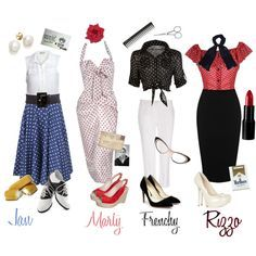 """""""The Pink Ladies, """"Grease"""""""" by tiresomelybohemian on Polyvore"""