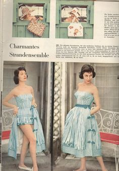 1958 Beach Dress Burda Patterns, Sewing Patterns, 80s Fashion, Vintage Fashion, Baby Boomer Era, Vintage 1950s Dresses, Bathing Beauties, Rock, Vintage Patterns