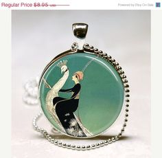 Art Deco Jewelry Woman on White Peacock by MissingPiecesStudio, $7.61