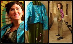 Kaylee of Firefly cosplay, episode one ensemble- canvas jumpsuit, brocade Asian jacket & parasol