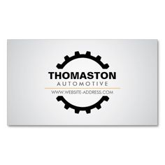 If you're looking for an updated, modern logo and business card for your automotive repair or mechanic business - this is for you. The open gear design balances your name or business name perfectly. Just click on the card to personalize the front and back with your own info to see how it looks instantly. Easy to order. Fast shipping.