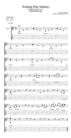 Nothing Else Matters fingerstyle guitar tab - pdf guitar sheet music - guitar pro tab download Guitar Tabs Acoustic, Guitar Tabs And Chords, Easy Guitar Tabs, Easy Guitar Songs, Guitar Chords For Songs, Bass Guitar Lessons, Guitar Sheet Music, Electric Guitar Chords, Guitar Tips