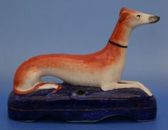 Staffordshire Figure Pottery Greyhound Pen Holder Antique