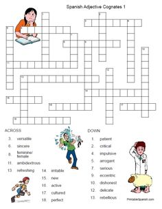 Spanish Adjective Cognates Crossword 1: FREE from PrintableSpanish.com!