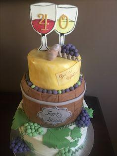 Wine theme cake, 40th birthday