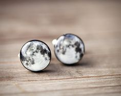 Full moon cufflinks  Space Cufflinks  Gray cufflinks by BeautySpot