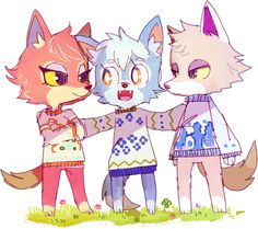 "simirgos: "" sweater wolves, maybe they're siblings? i'd give a piece of my soul to have skye in my town :'v """