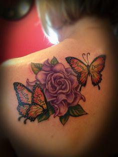 Flower and butterfly tattoo -www.facebook.com/tattoosbybecky