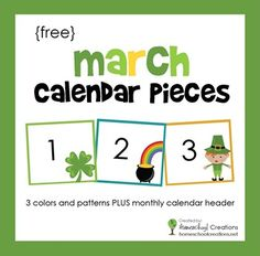 Freebie: Pocket chart calendar pieces for March. Includes three different patterns for extra learning fun.