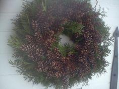 Large Fresh Cedar And Maine Pincone Holiday Wreath by scarletsmile
