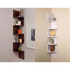 When you live in a small space, you have to use every corner wisely. These corner shelves add style and storage. They come in walnut or white.