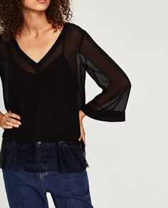 ZARA - WOMAN - CONTRAST LACE TOP