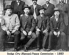 "The ""Dodge City Peace Commission"" in Wyatt Earp is seated, second from left; Luke Short is standing, second from left; and Bat Masterson is standing, third from left. Doc Holliday, Wyatt Earp, Mafia, Dodge City Kansas, Kansas Ks, Old West Outlaws, Old West Photos, Into The West, American Frontier"