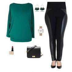ac1653ef5a Zielona bluzka i modne legginsy z eko skórą. Moda plus size w sklepie XL-