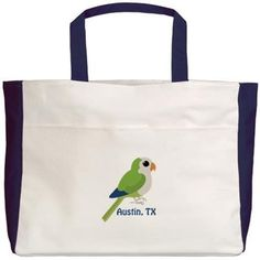 Monk Parakeet Austin, TX Beach Tote on CafePress.com