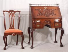 Centennial Chippendale style mahogany drop front desk and matching chair c1875.