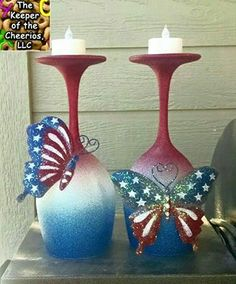 Whimsical Patriotic Wine Glass Candle Holders - The Keeper of the Cheerios Wine Glass Crafts, Wine Craft, Wine Bottle Crafts, Bottle Art, Jar Crafts, Wood Crafts, Wine Bottles, Wine Decanter, Decorated Wine Glasses