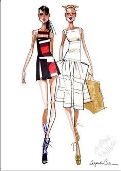 "Alfredo Cabrera Illustrator Open Greeting Card "" Two Girls "" AC011 | eBay"
