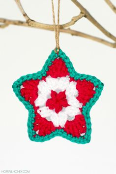 Star #Christmas Ornament free #Crochet Pattern from Hopeful Honey