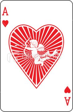 Ace of Hearts with cupid playing card Royalty Free Stock Vector Art Illustration