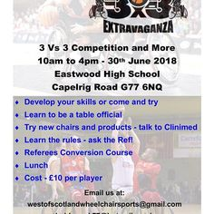 2 weeks to go until we run this 3v3 tournament offering the chance to hone skills in and around the game of wheelchair basketball. Entry fees will be used to help aid youth development and pay for attending development competition and training at national youth level and women's league #Wheelchair #basketball #bonanza #glasgow #join #learn #development Basketball Tricks, Basketball Games, Basketball Players, We Run, Sports Clubs, Referee, Learning To Be, New Tricks, Glasgow