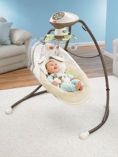 Fisher-Price Snugabunny Cradle 'N Swing Will loved looking at the baby in the globe mirror, and this got us through a particularly difficult stretch of sleep trouble. Plug In Baby Swing, Baby Swings, Fisher Price, Best Baby Bouncer, Baby Registry List, Amazon Baby, Baby Supplies, Thing 1, Baby Shower